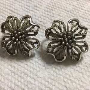 Trifari Dogwood Blossom Clip Earrings